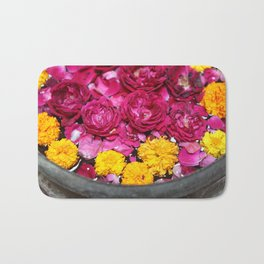 Roses and yellow Flowers Bath Mat
