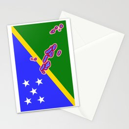 Solomon Islands Flag with Map of the Solomon Islands Stationery Cards