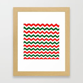 Modern red green white Christmas chevron pattern Framed Art Print