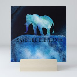 Save The Elephants Watercolor Painting Mini Art Print