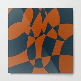 Blue and Rust Abstract I Metal Print