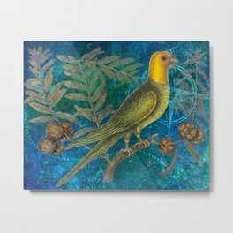 Carolina Parakeet with Cypress, Antique Natural History and Botanical Metal Print