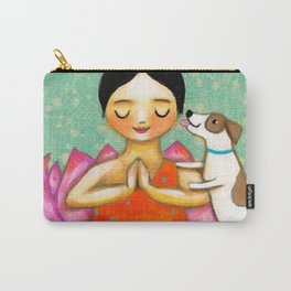 Meditating Yoga Girl with Dog painting ZEN art by Tasc Carry-All Pouch