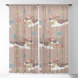 Christmas Dachshund Sheer Curtain
