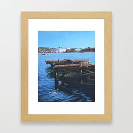 Southampton Northam River Itchen old jetty with sea birds Framed Art Print