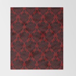 Crimson Damask Throw Blanket