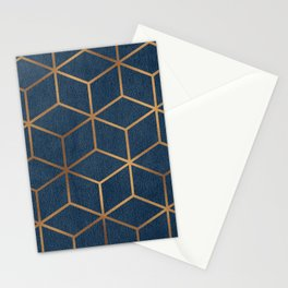 Dark Blue and Gold - Geometric Textured Cube Design Stationery Cards