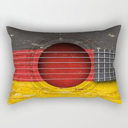 Old Vintage Acoustic Guitar with German Flag Rectangular Pillow