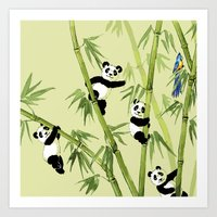 pandas Art Prints featuring Pandas by Volha