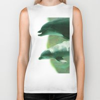 dolphins Biker Tanks featuring Two Dolphins by Roger Wedegis