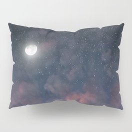 Glowing Moon on the night sky through pink clouds Pillow Sham