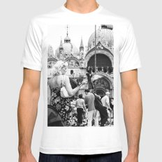 Birds of a Feather - St. Marks Square Italy Mens Fitted Tee MEDIUM White