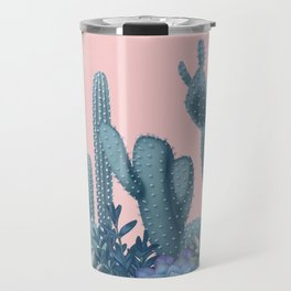 Milagritos Cacti on Rose Quartz Background Travel Mug