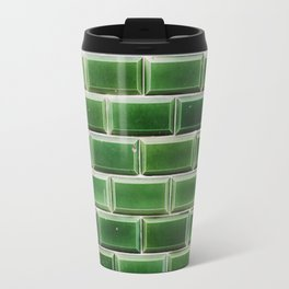 Lisbon tiles - green bricks Travel Mug