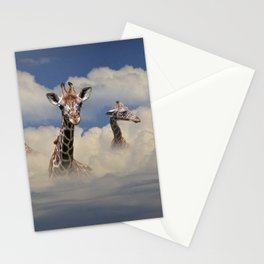 Heads above the Clouds with 3 Giraffes Stationery Cards