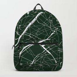 Paris France Minimal Street Map - Forest Green Backpack