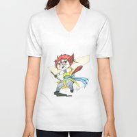 magic the gathering V-neck T-shirts featuring Magic the Gathering Brimaz Cat Warrior Token by Deadlance