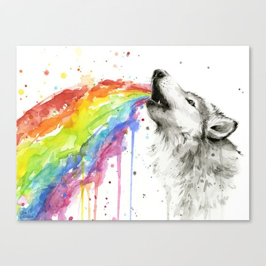 Wolf Rainbow Watercolor Animal Canvas Print