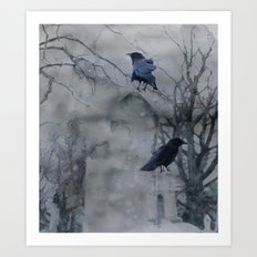 Crows In A Gothic Gray Wash Art Print
