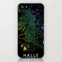 Halle, Germany, City, Map, Rainbow, Map, Art, Print iPhone Case