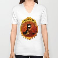bookworm V-neck T-shirts featuring The bookworm lady by CottonValent