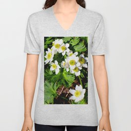 Small White Flowers #society6 #decor #buyart Unisex V-Neck