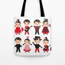 Spanish flamenco dancer. Kawaii cute face with pink cheeks and winking eyes. Gipsy Tote Bag