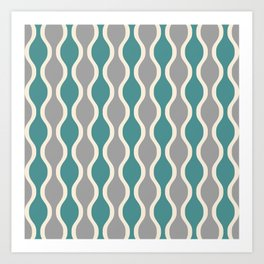 Ogee Pattern 737 Beige Gray and Turquoise Art Print