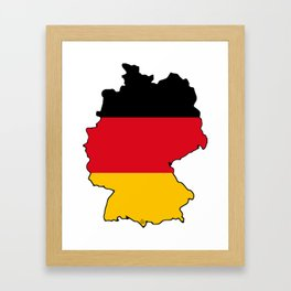 Germany Map with German Flag Framed Art Print