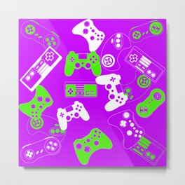 Video Games green on purple Metal Print