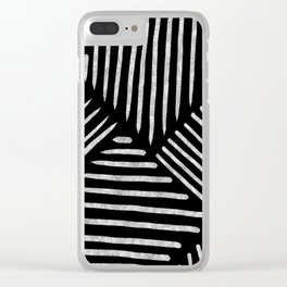 Lines and Patterns in Black and White Brush Clear iPhone Case