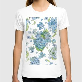 Blue Hydrangea Watercolor T-shirt