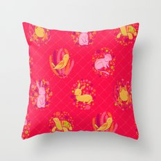 Picnic Pals animals in strawberry Throw Pillow