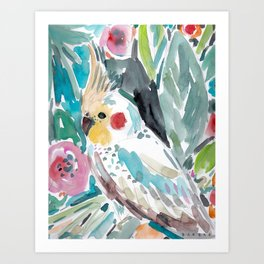 Parasol the Cockatiel Art Print