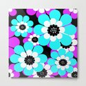 The floral pattern . Purple and turquoise flowers on a black background . by decoli