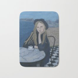 Girl with cafe and sea montain view realism Bath Mat