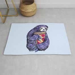 purple sloth loves pizza Rug