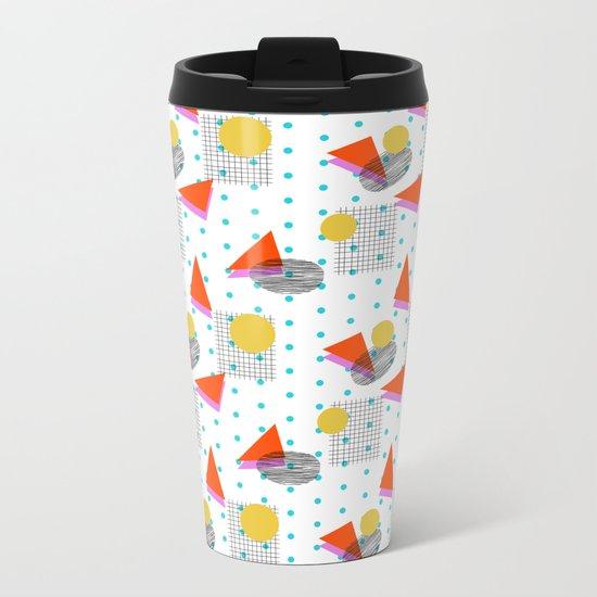 Bounce - abstract minimal retro throwback 1980s grid circle shapes memphis design pattern print art Metal Travel Mug