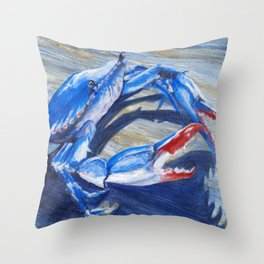 Chesapeake Bay Crab palette knife by Sonya Allen Throw Pillow
