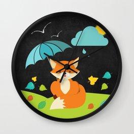 Fox on  Black Chalkboard , Nursery decor Wall Clock