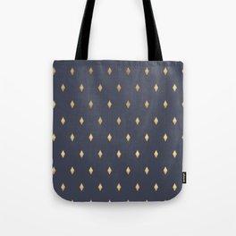 Simple Modern Gold Diamond Navy Blue Pattern Tote Bag