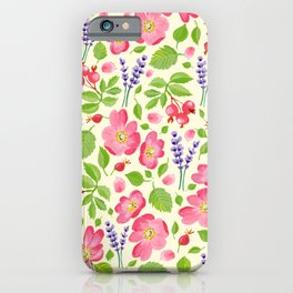 Roses and Lavender iPhone Case