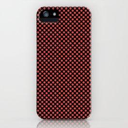 Black and Grenadine Polka Dots iPhone Case