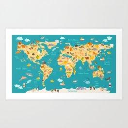Animal map for kid. World vector poster for children, cute illustrated Art Print