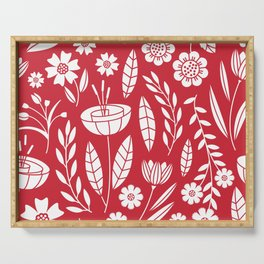 Blooming field - red Serving Tray
