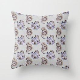 Snake N' Flowers Throw Pillow