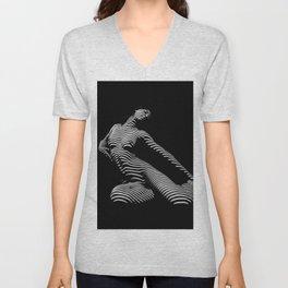 9967-DJA  Nude Woman Yoga Black White Abstract Curves Expressive Lines Slim Fit Girl Zebra Unisex V-Neck