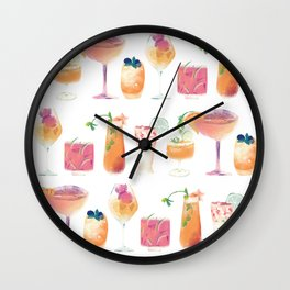 Cocktails Pattern - Colorful summer drinks - Mixology  Wall Clock