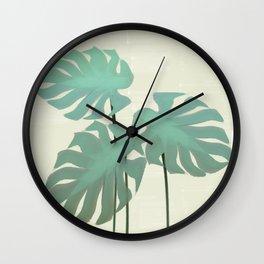 Tropical Monstera Watercolor Wall Clock