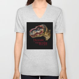 T-Rex Dinosaur - Unleash your wild side Unisex V-Neck